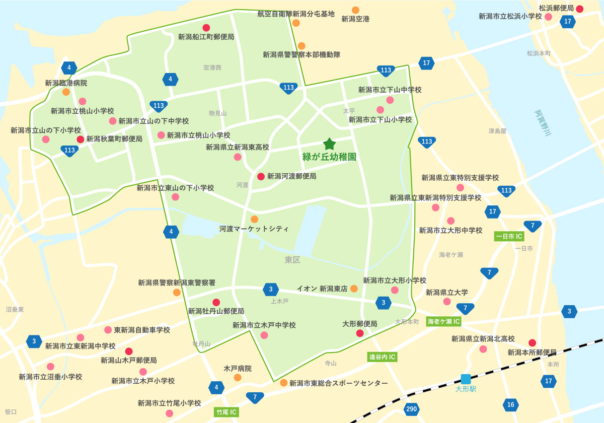 緑が丘幼稚園バスマップ